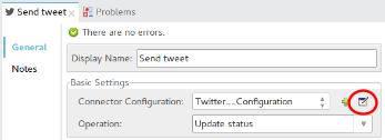 Anypoint studio, Twitter element properties