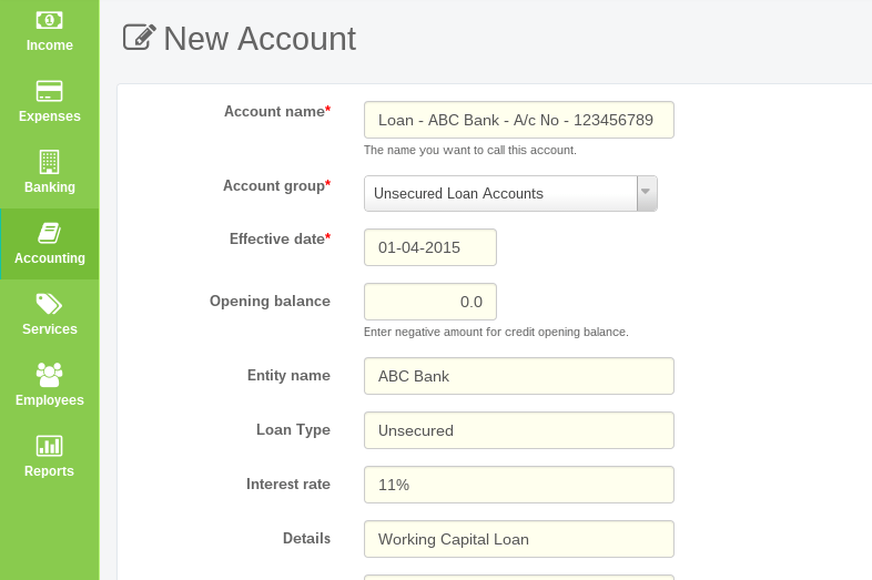 Create new loan account