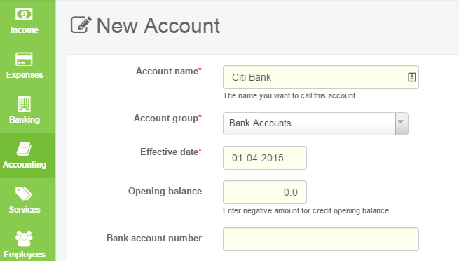 Create Bank Account