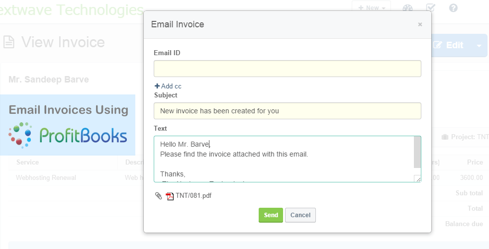 Email Invoices From ProfitBooks Accounting Software