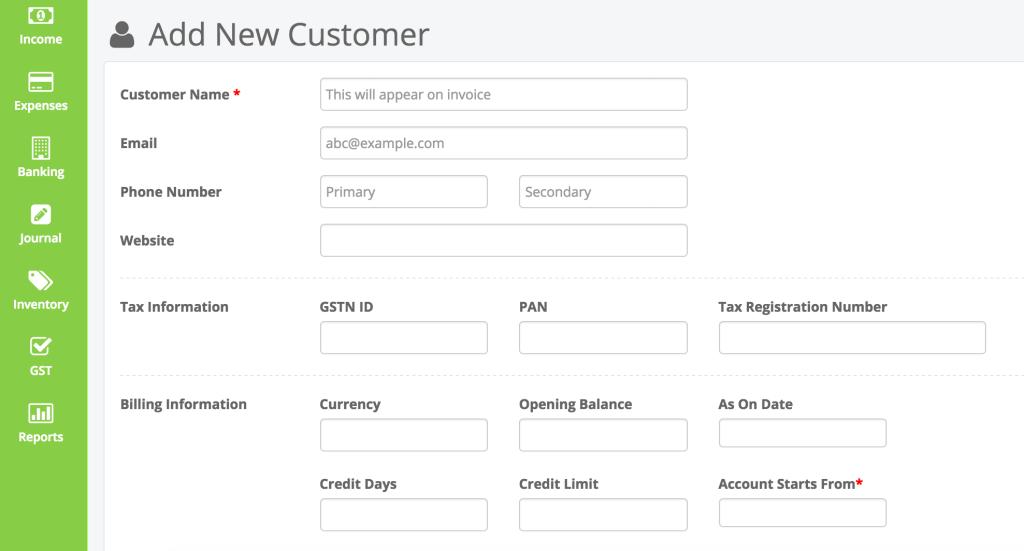 Add new customer in ProfitBooks
