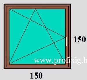 150×150 bukó-nyíló egyszárnyú műanyag ablak