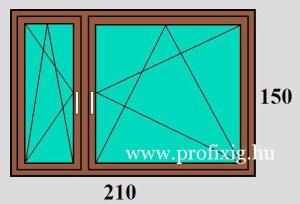 210x150 Bukó-nyíló műanyag ablak