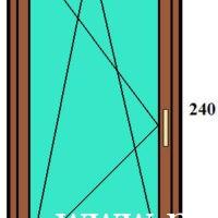 90×240 bukó-nyíló egyszárnyú erkélyajtó