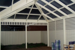 Hip & Scotch Gable with Privacy Screen & Frieze