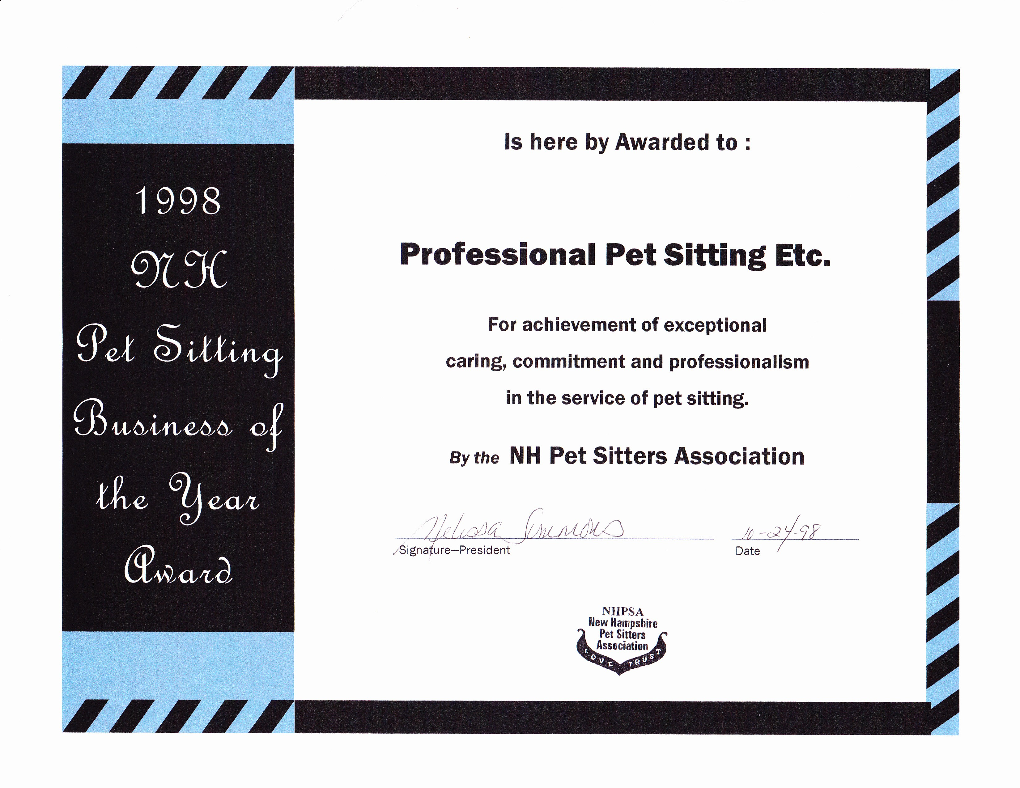 Professional pet sitter archives award winning dog walking cat our awards certificates and credentials nvjuhfo Image collections