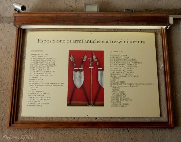 castello aragonese ischia esposizione armi antiche e strumenti di tortura
