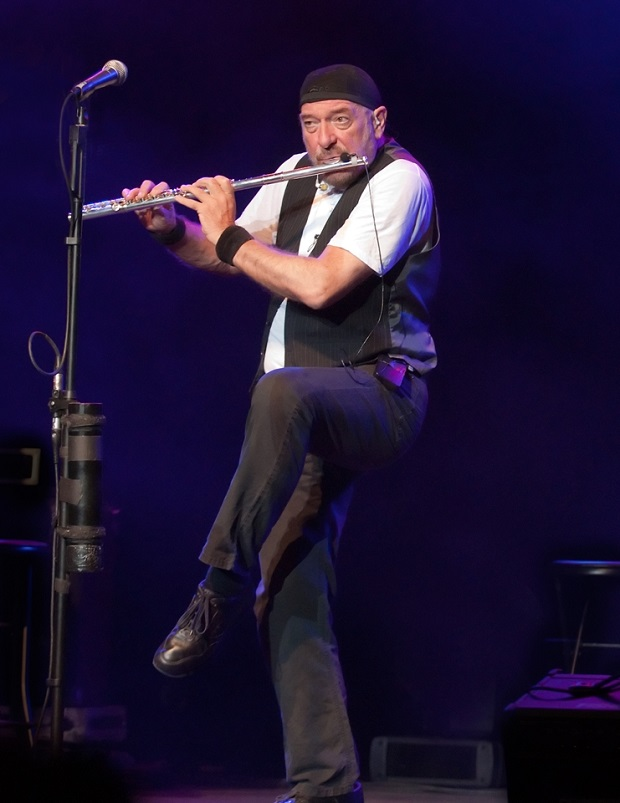 Ian Anderson in flamingo pose
