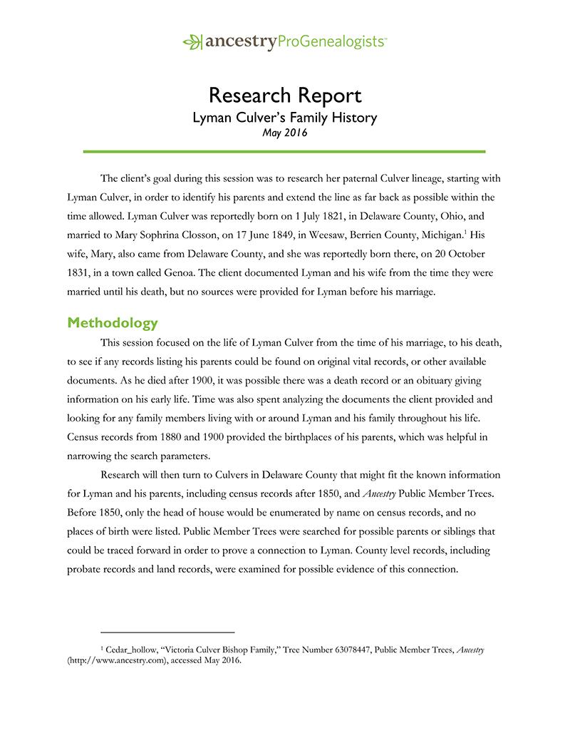 Genealogy Services & Products AncestryProGenealogists