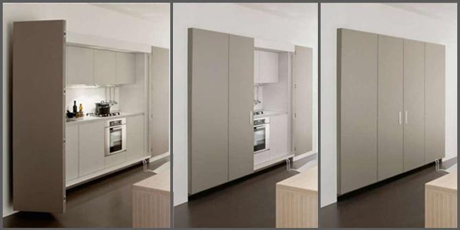 Razionalizzare gli spazi con la cucina a scomparsa  Progettazione Casa