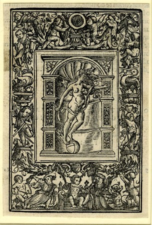 Border with an enthroned child; flanked by four other children in the lower border; the side borders with putti and pelicans; upper border with two putti standing on cornucopiae. Set in the border the printer's mark of Andreas Cratander of Occasio as a nude female figure with winged feet standing on a sphere in front of a niche. Used as an illustration to Jacques Lefèvre d'Étaples, 'Commentarii initiatorii in quatuor Evangelia...', Basel: A. Cratander, 1523. 1518