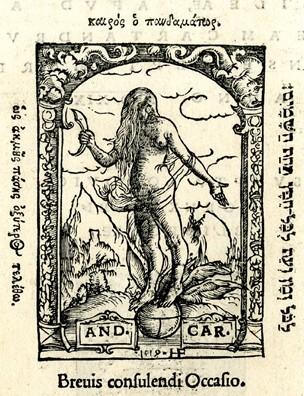 Printer's mark of Andreas Cratander; on recto, with Fortune with winged feet standing on a globe in a landscape, her face obscured by her long hair; on verso the mark of Ludwig Hornken with a griffin and a lion supporting a shield; illustrations to 'Auli Gellii Noctium Atticarum', Basel:Cratander, 1519.  Woodcut and letterpress