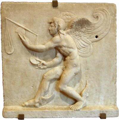 Turin, Museum of Antiquities. Kairos. Marble bas-relief. Roman copy after the original by Lysippos.