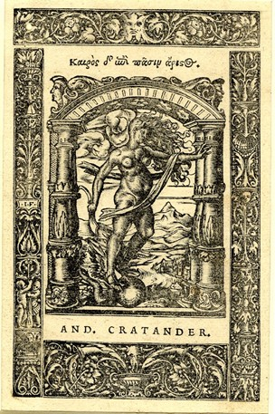 Octavo border with printer's mark of Andreas Cratander; the side-strips are filled with candelabra-motives with masks, shells, putti; above a mask with foliage and below a vase with an animal's skull and foliage; at centre stands Occasio on a globe, underneath a triumphal arch and landscape behind; used in Ioannes Chrysostomus, Intotum Geneseos librum Homiliae
