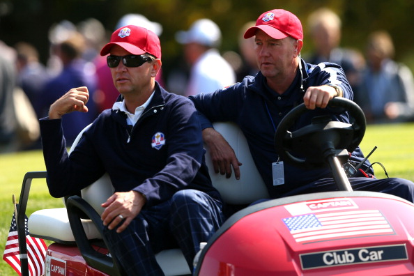 MEDINAH, IL - SEPTEMBER 28: USA team captain Davis Love III (L) waits with his brother Mark during the Afternoon Four-Ball Matches for The 39th Ryder Cup at Medinah Country Club on September 28, 2012 in Medinah, Illinois. (Photo by Mike Ehrmann/Getty Images)