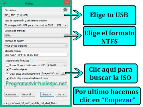 Rufus Crear USB de Disco de instalación para Windows