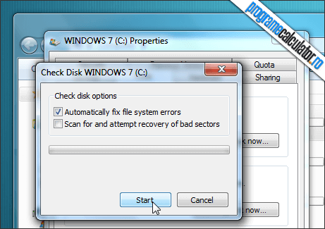 verificarea hard disk-ului