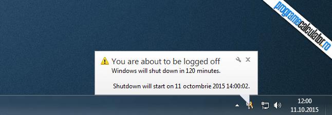 calculatorul se va oprin in 120 de minute