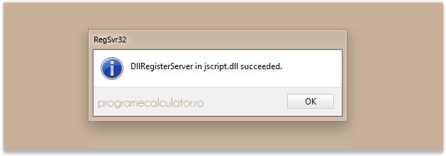 DllRegisterServer in jscript.dll succeeded