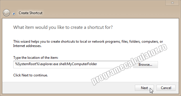Creare Shortcut nou