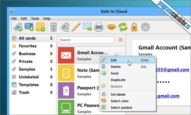 Safe In Cloud Optiuni Gmail