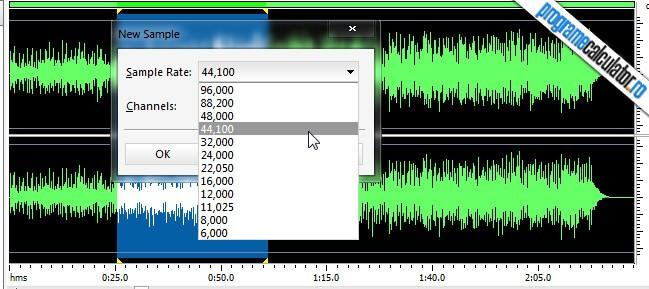 program de taiat melodii - Power Sound Editor - Sample Rate