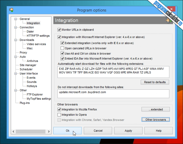 5-Internet Download Accelerator-optiuni
