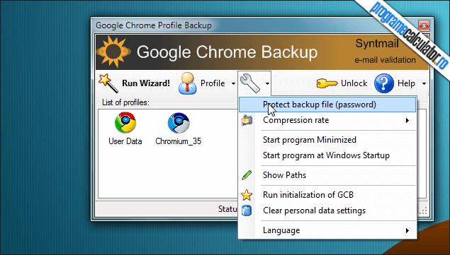 1-Google Chrome Backup-interfata