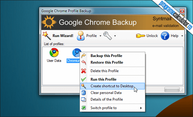 3-Google Chrome Backup-optiuni-generale