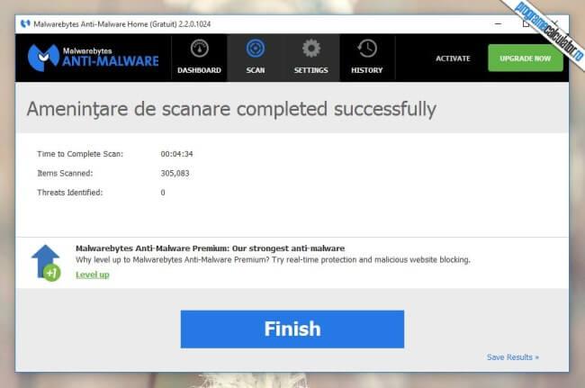Malwarebytes Anti-Malware - Scanare finalizata