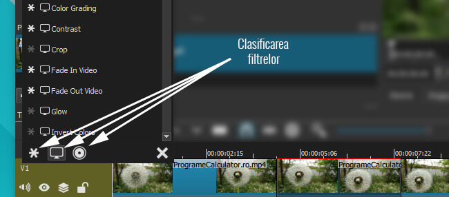 listele filtrelor disponibile in shotcut