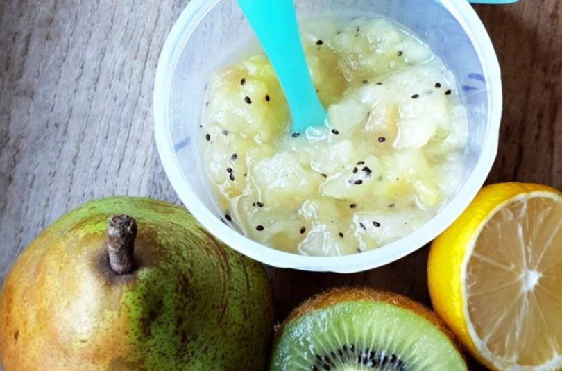 Compote de poire kiwi et citron pour bébé