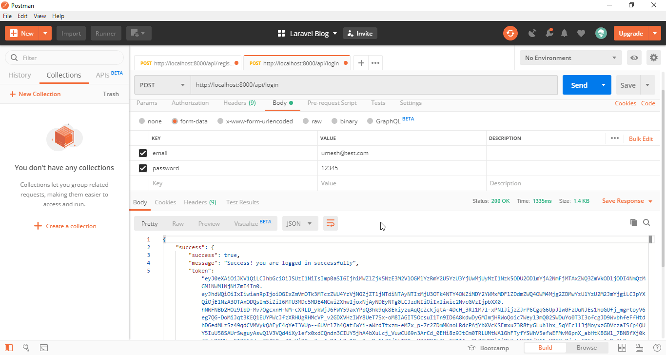 POST Request for user login