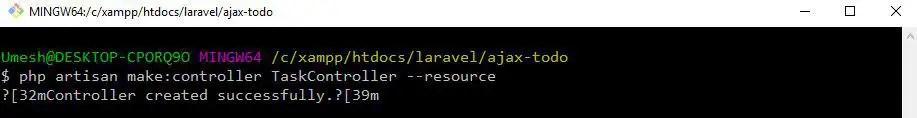 Create Task Controller - AJAX in Laravel 6