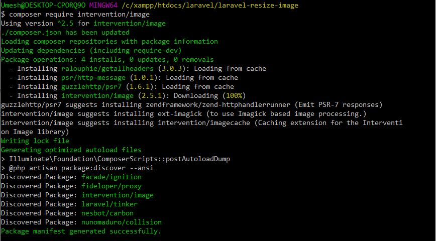 Add Package for Resize Image in Laravel 6