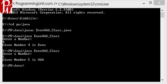 Java Program to find Number is Even or Odd