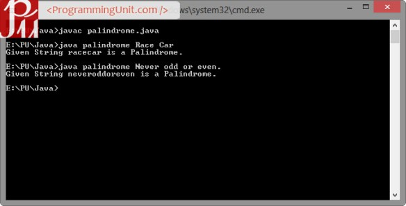 Java Program to check if String is Palindrome or not using Command Line Input