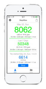 StepWise Pedometer iPhone 5S, Health and Fitness for Walking Running and Jogging. Exercise and get fit. Progress Concepts.