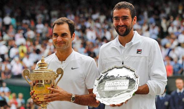 En 2017 à Wimbledon, Federer bat Marin Cilic 6/3 6/1 6/4
