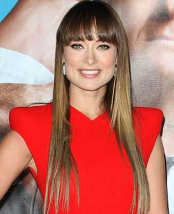 Olivia Wildes Long Sleek Straight Hairstyle With Bangs