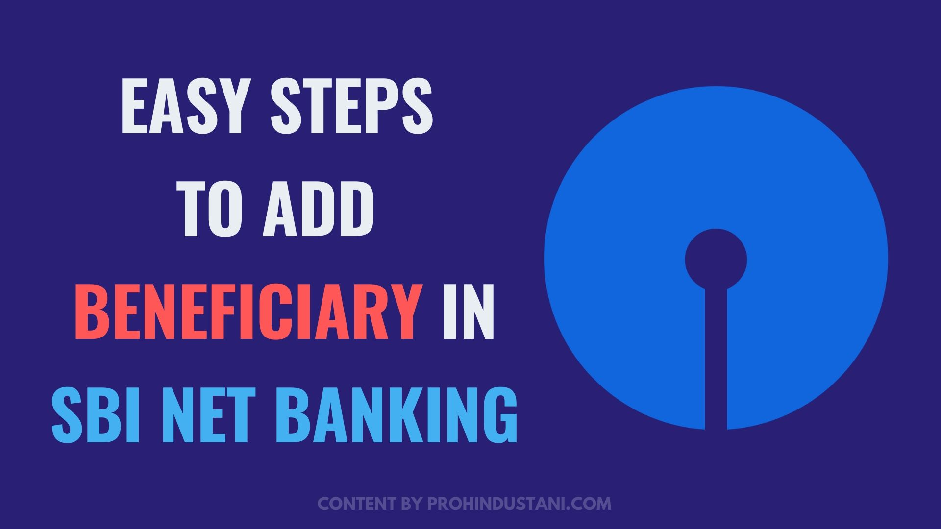 easy steps to add beneficiary in SBI net banking