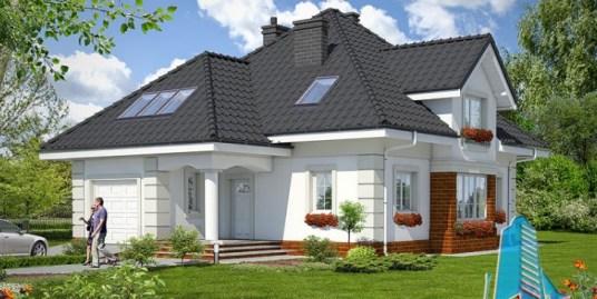 Proiect de casa cu parter, mansarda, garaj si terasa de vara