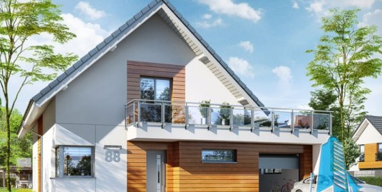 Proiect de casa cu parter, mansarda si garaj pentru un automobil – 100571