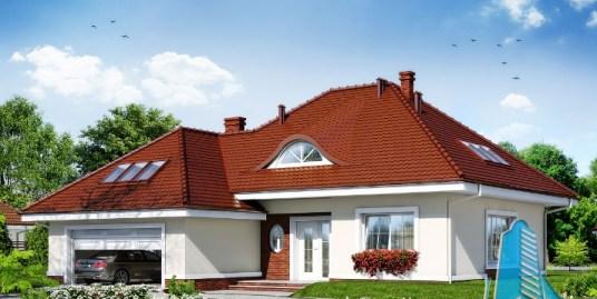Proiect de casa cu parter mansarda si garaj pentru doua automobile-100591
