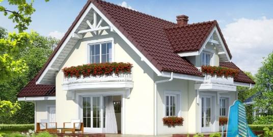 Proiect de casa cu parter, mansarda si garaj pentru un automobil – 100577