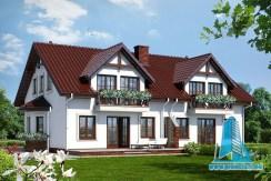 Proiect de casa duplex cu mansarda si garaj pentru un automobil
