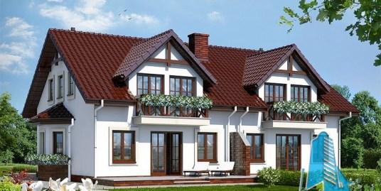 Proiect de casa duplex cu mansarda si garaj pentru un automobil-100561