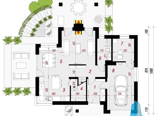 parter Proiect de casa cu parter, mansarda si garaj pentru un automobil