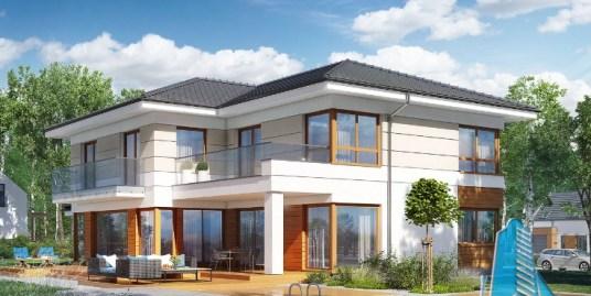 Proiect de casa cu parter, etaj si garaj pentru doua automobile – 100664