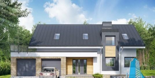 Proiect de casa cu parter, mansarda si garaj pentru doua automobile-100673